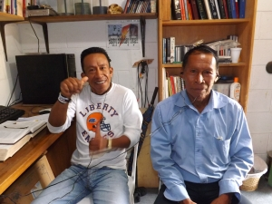 "Ramon and Bautista from Sinangue watching the ""Jesus"" movie"