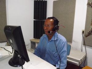 Bautista recording his lines