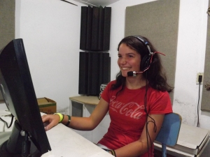 Julia recording one of the girl voices for the movie