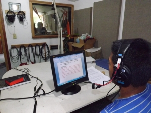Wilson recording the voice of the narrator for the movie