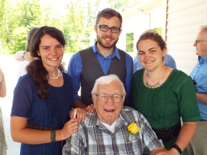 Julia, Ethan, Sarah and Grandpa Borman at Rachelle's wedding in Michigan May 31st