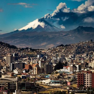 Quito with Cotopaxi in the background - posted on the internet